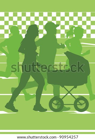 Active family marathon runners in urban city landscape background illustration - stock vector