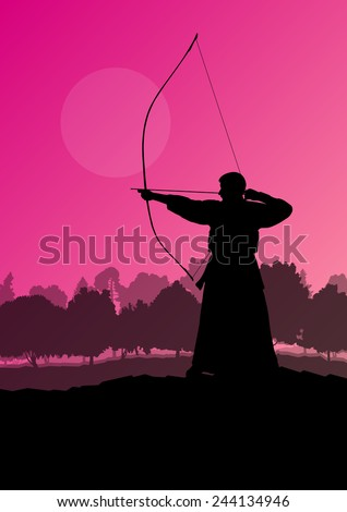 Active japanese kendo sport kyudo archer martial arts fighter silhouette in forest nature illustration background vector