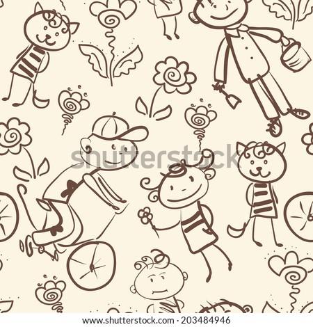active kid's outdoor recreation monochrome seamless pattern - stock vector