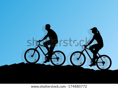 Active man and woman couple family cyclists bicycle riders in romantic wild mountain nature landscape background illustration vector