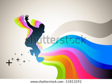 Active man jumping with flowing waves of colour. Vector illustration. - stock vector