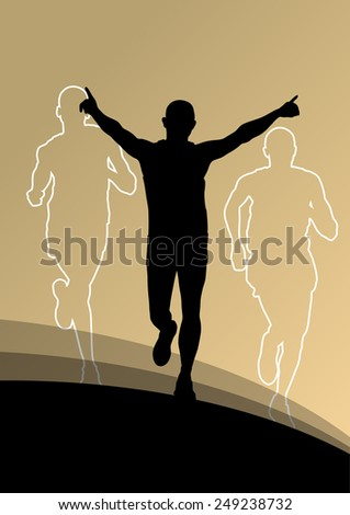 Active men runner sport athletics running silhouettes illustration background vector - stock vector