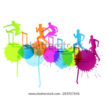 Active men sport athletics hurdles barrier running silhouettes illustration background vector concept with color splashes - stock vector