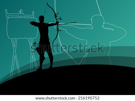 Active modern bow and japanese kendo sport kyudo archer martial arts fighter bow silhouette concept abstract illustration background vector - stock vector