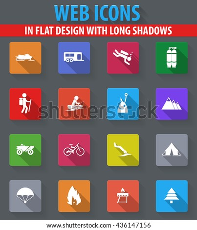 Active recreation web icons in flat design with long shadows - stock vector