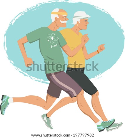 Active retirement. Elderly couple jogging, vector illustration - stock vector