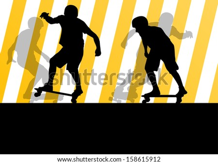 Active skateboarders detailed sport concept silhouette illustration background vector - stock vector