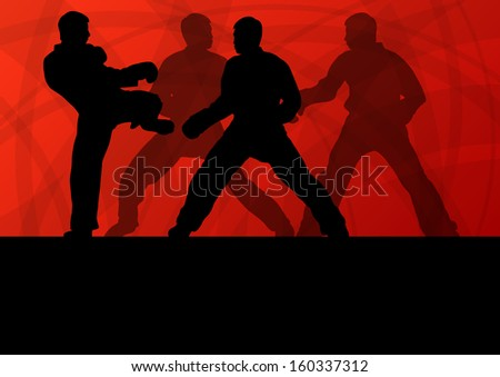 Active tae kwon do martial arts fighters combat fighting and kicking sport silhouettes illustration background vector - stock vector