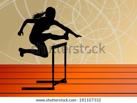 Active woman girl sport athletics hurdles barrier running silhouettes illustration background vector - stock vector