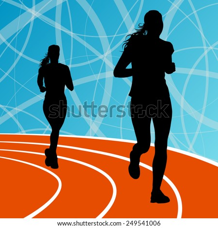 Active women runner sport athletics running silhouettes illustration background vector - stock vector
