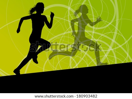 Active women sport athletics running silhouettes illustration abstract background vector - stock vector