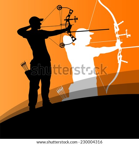 Active young archery sport men silhouettes in abstract background illustration vector