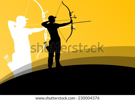 Active young archery sport men silhouettes in abstract background illustration vector - stock vector