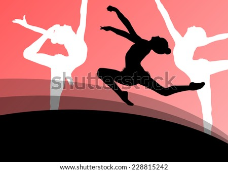 Active young girl gymnasts silhouettes in acrobatics abstract background illustration vector - stock vector