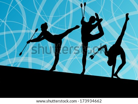 Active young girls calisthenics sport gymnasts silhouettes with clubs  in acrobatics abstract background illustration vector
