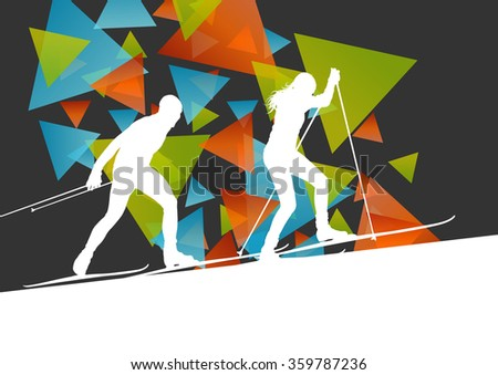 Active young man and woman skiing sport silhouettes in winter ice abstract background illustration vector - stock vector