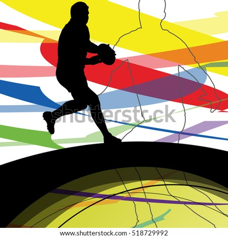 Active young men rugby player sport silhouettes abstract sport background illustration vector