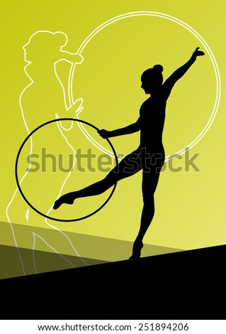 Active young woman gymnasts silhouettes in sport acrobatics spinning rings abstract background illustration vector - stock vector