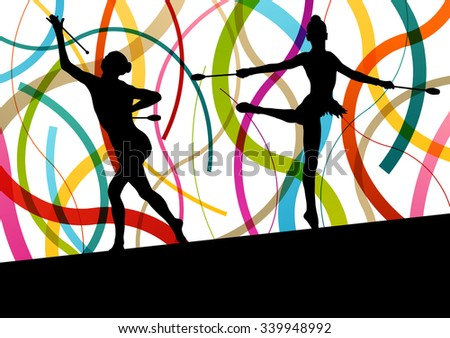 Active young women calisthenics sport gymnasts silhouettes with clubs in acrobatics abstract background illustration vector - stock vector