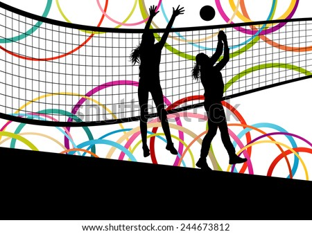 Active young women volleyball player sport silhouettes in abstract color background illustration vector - stock vector