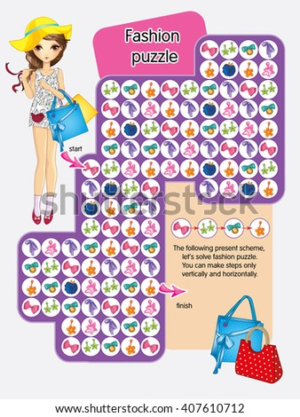 Activity Page Of Fashion Puzzle - stock vector