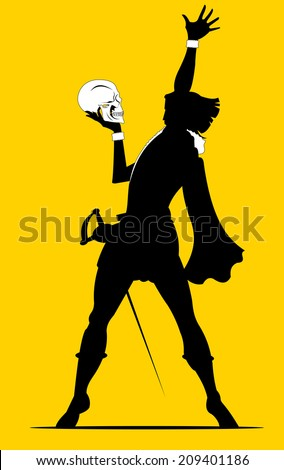 actor plays the role of Hamlet, vector and illustration - stock vector