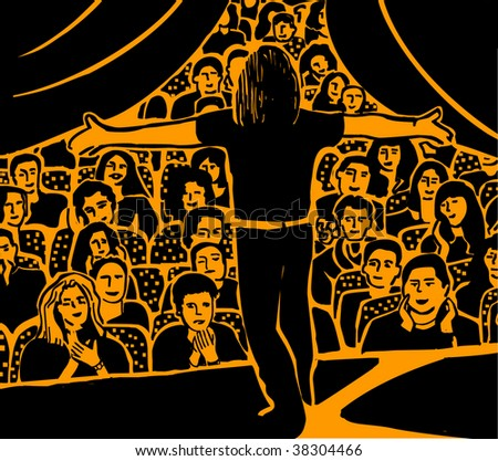 Actor The big group of people are applauding to the young man on the stage.. Black and orange vector illustration. - stock vector