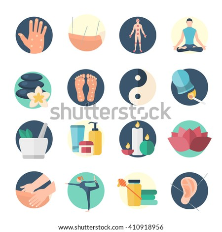 Acupuncture flat icon set needle therapy on the body isolated and colored vector illustration - stock vector