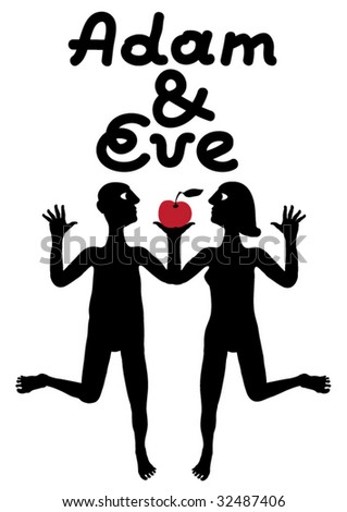 Adam and Eve simple symbolic illustration - stock vector