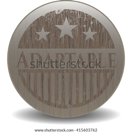 Adaptable badge with wooden background
