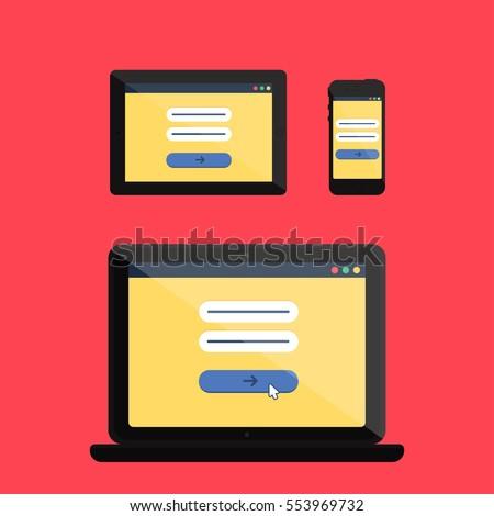 Adaptive Web Template Gadget Elements Site Stock Vector 553969732