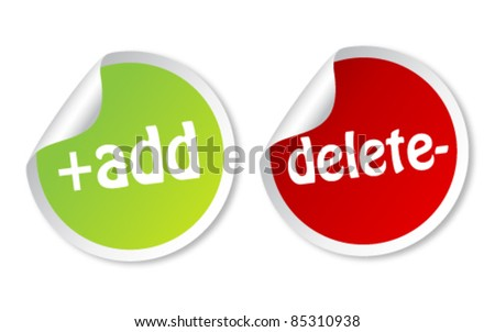 Add and Delete stickers - stock vector