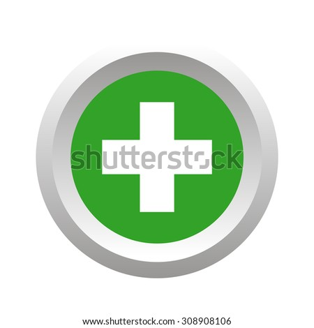 Add button, round, volumetric, colored, isolated on white - stock vector