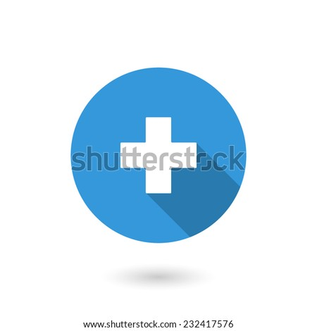 Add icon. Vector illustration of flat blue color icon with long shadow - stock vector
