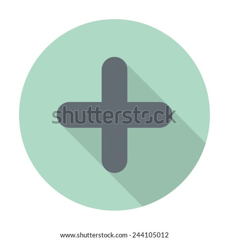 Add plus icon in flat style - stock vector