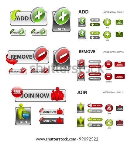 add, remove and user icons / collection of vector icons and buttons - stock vector