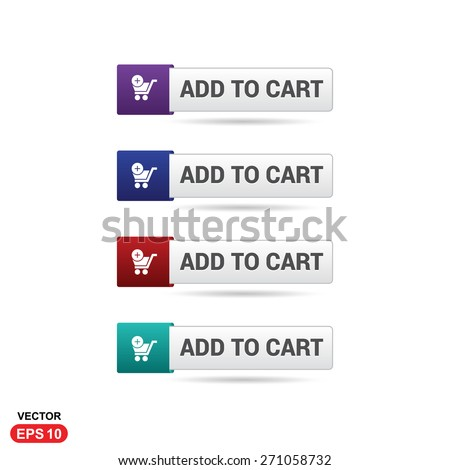 Add to Cart Button. Abstract beautiful text button with icon. Purple Button, Blue Button, Red Button, Green Button, Turquoise button. web design element. Call to action icon button - stock vector