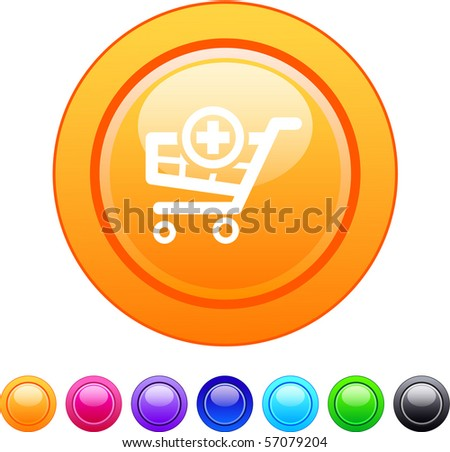 Add to cart glossy circle web buttons. - stock vector