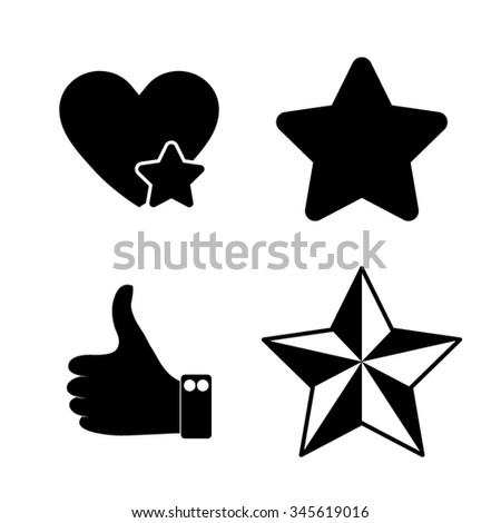 Add to favorites - Heart and Star - vector icon, set - stock vector