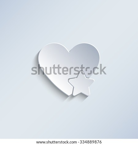 Add to favorites - Heart with Star - paper vector icon - stock vector