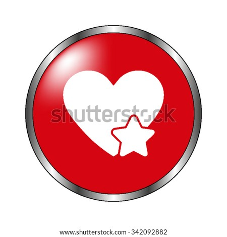 Add to favorites - Heart with Star - vector icon on the  red button - stock vector