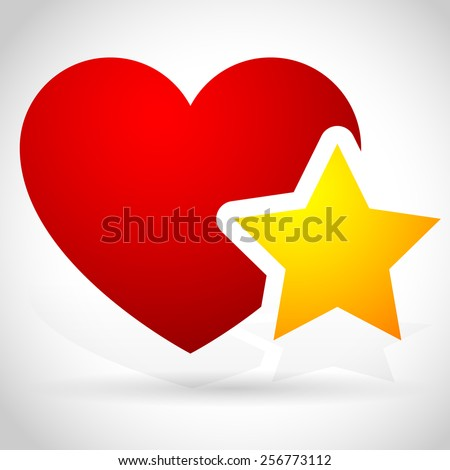 Add to favorites icon - Heart with Star - stock vector