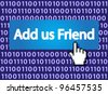 Add us Friend Button with Hand Cursor. Vector Illustration. - stock photo
