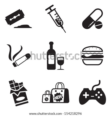 Addiction Icons - stock vector