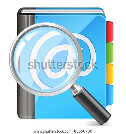 address book icon - search contact - stock vector