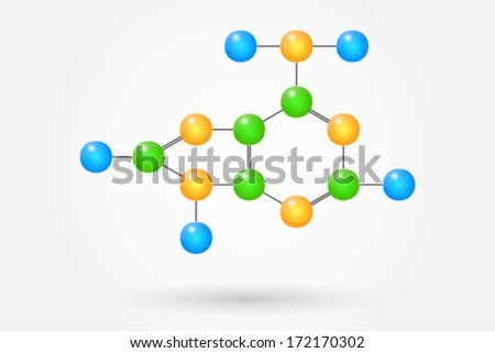 Adenine Molecule Chemical Formula Component Of The Dna - stock vector