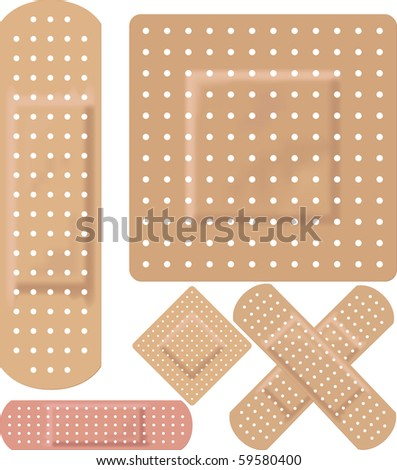 adhesive bandages - stock vector
