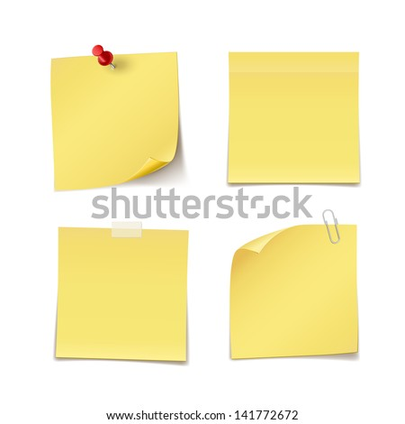 Adhesive Notes with pin, clip and scotch isolated on white - stock vector