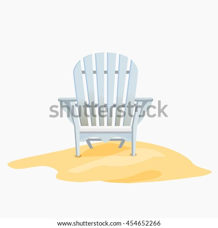adirondack chair standing on the yellow sand vector flat