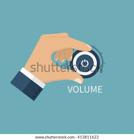 Adjusting volume. Control volume knob. Hand on volume control button. Sound control knob. Turning volume control knob. - stock vector